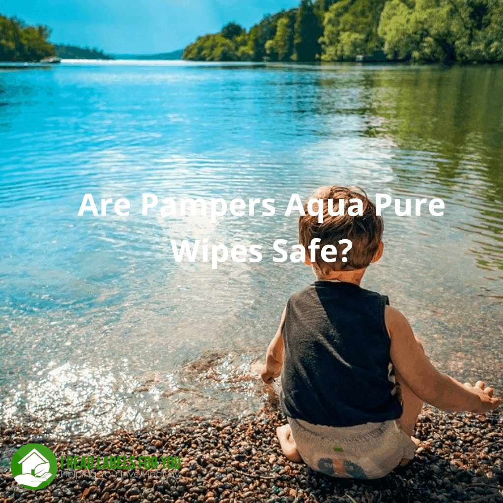 are pampers aqua pure wipes safe. a photo of a toddler in a diaper sitting on the bank of a pure lake.