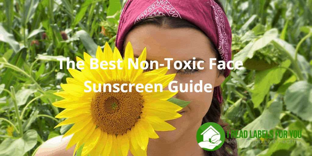 Non-toxic face sunscreen. A photo of a girl whose face is covered with a sunflower.
