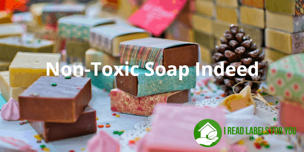 How to buy truly non-toxic soap. It's a photo of hand-made soap bars in colorful wrappings.