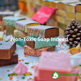 Non-Toxic Soap Indeed. A photo of hand-made soap bars in colorful wrappings.