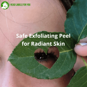 Safe Exfoliating Peel for Radiant Skin Review. The photo of a girl looking through a heart-shaped hole in a green leaf.