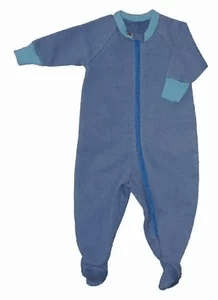 Blue Natural Fleece Baby Pajamas with a zipper