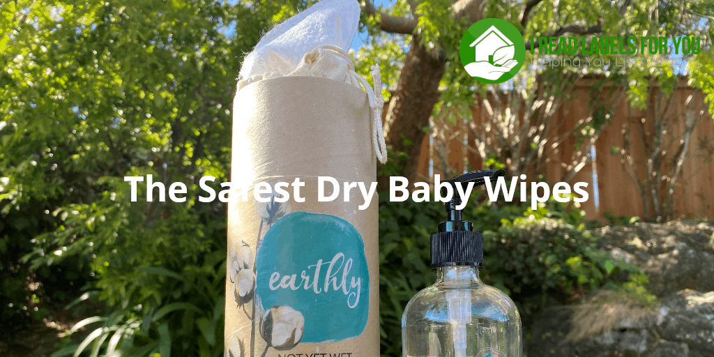 The Safest Dry Baby Wipes. A photo of the wipes and a spray glass container.